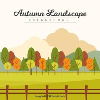 木やフェンスと田園