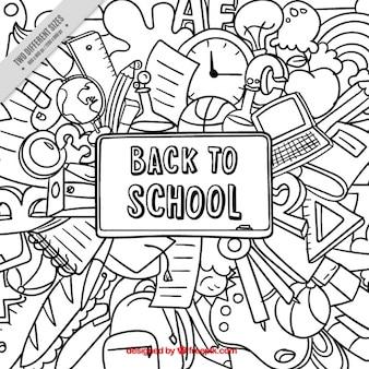 学校に戻ってのためのかわいい手描きの背景