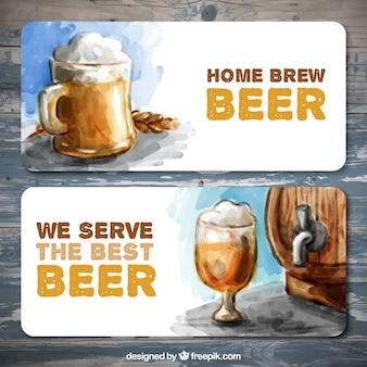 最高のビールと水彩バナー