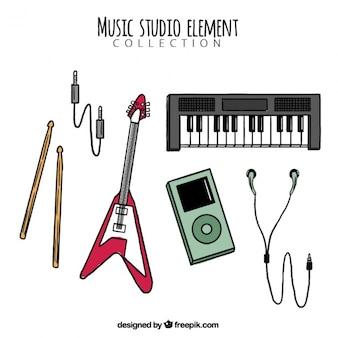音楽スタジオのための手描きの楽器のコレクション