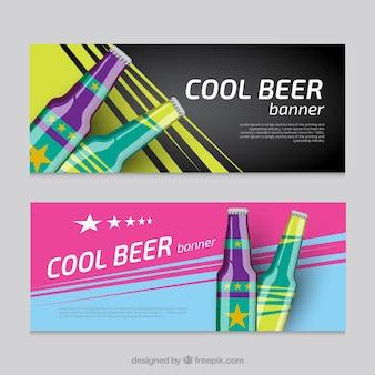 冷たいビールとバナー