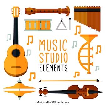 音楽スタジオの主な楽器