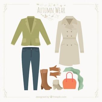 秋のための衣装のコレクション