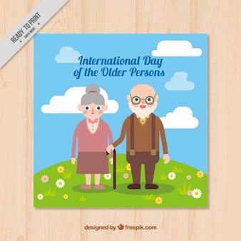 フラットデザインの国際高齢者の日カード