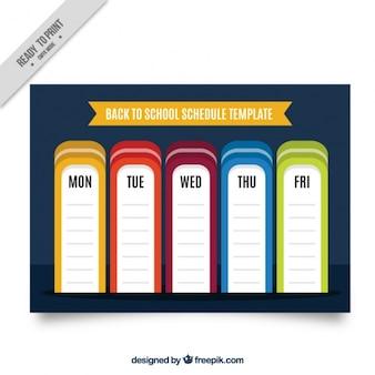 青色の背景色の週単位のスケジュール