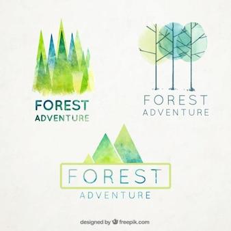Акварели лесные значки установлены