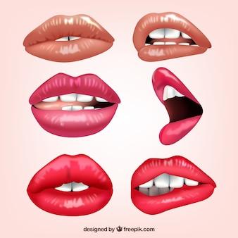 異なる表情を持つ女性の唇のコレクション