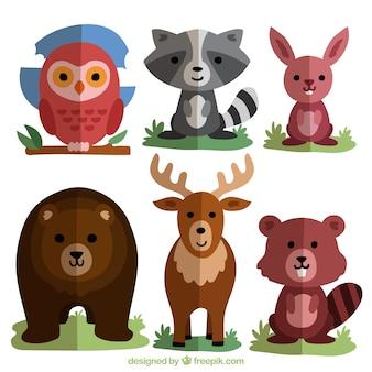 フラットなデザインに設定された森の動物