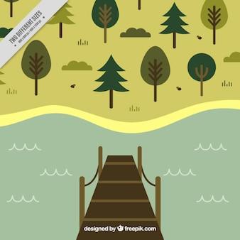 湖で木製の歩道橋