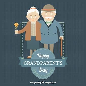 Прекрасный пожилая пара в классическом стиле фоне
