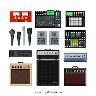 プロの音楽スタジオ機器