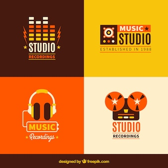 Несколько музыкальных логотипов в стиле винтаж