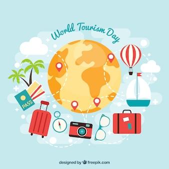 世界の観光の日の準備ができてチケットとパスポート