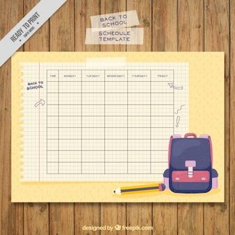 バックパックや鉛筆で学校のスケジュール