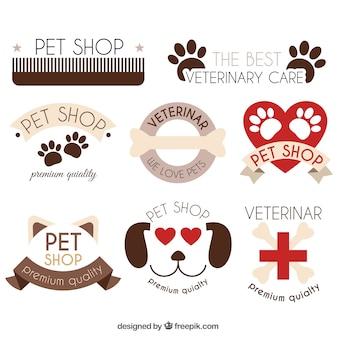 動物要素とロゴの素敵なパック