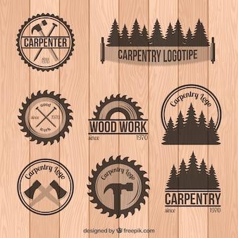 Набор плотницкого значков в стиле винтаж