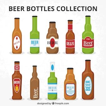 ラベル付きのビール瓶コレクション
