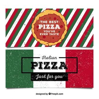Пиццерия баннеры в стиле ретро
