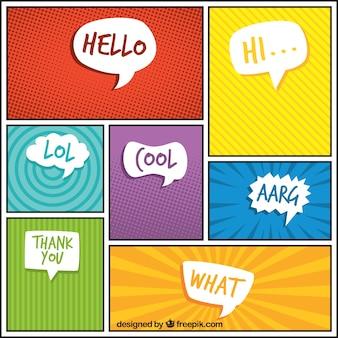 対話バルーンと抽象漫画ビネットのセット