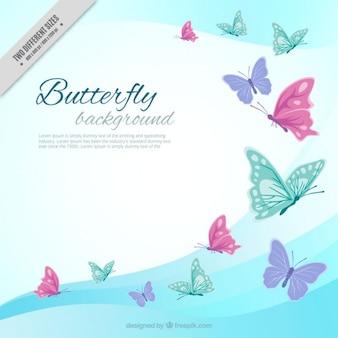 波の背景色の蝶