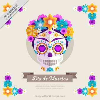 フラットなデザインで色とりどりの花とかわいい背景の頭蓋骨