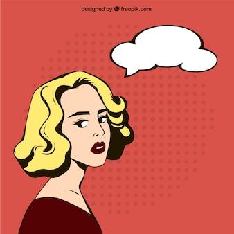 漫画風の手描き女性のイラスト