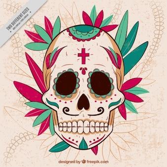 手描きの装飾品とメキシコの頭蓋骨の背景