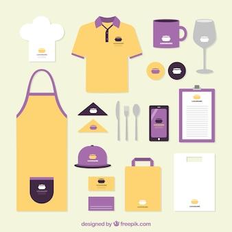 Ресторан идентичности в оранжевый и фиолетовый