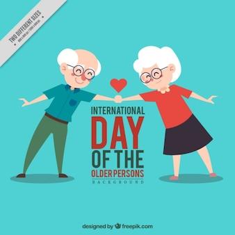 Фон прекрасная пожилая пара рукопожатие