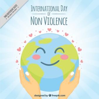 非暴力幸せな世界の背景の国際デー