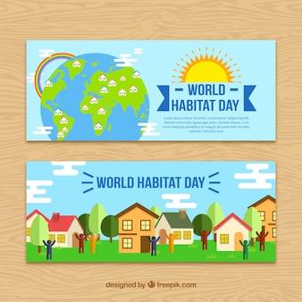 世界の生息地の一日の生態バナー