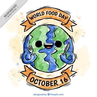 世界の食料日の準備ができて地球を笑顔
