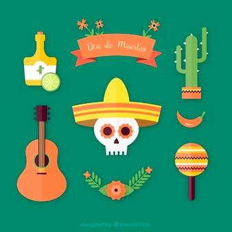 Несколько мексиканские элементы день мертвых