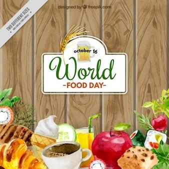 世界の食料日の水彩画の背景