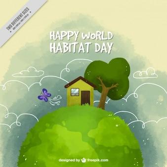 世界の生息地の日の水彩画のかわいい家の背景と植生