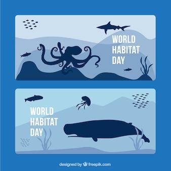 海洋動物の世界の生息地の一日バナー