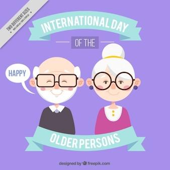 眼鏡をかけた幸せな祖父母の背景