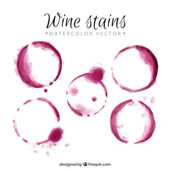 水彩画で作られたワインのシミ