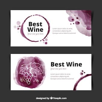 水彩画のスタイルでワインのバナーのセット