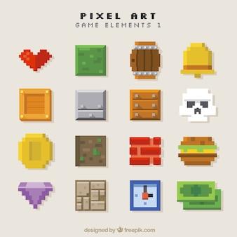 Ассортимент объектов видеоигры в пиксельной графике