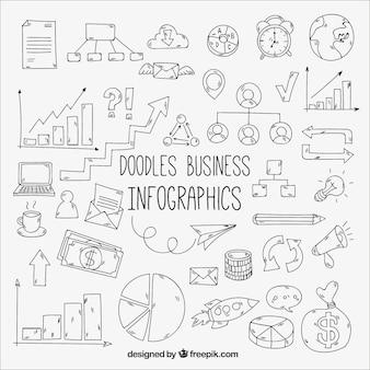 Пакет каракулей для бизнеса инфографики