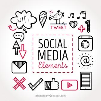 ソーシャルメディア要素のコレクションのスケッチ