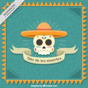 Плоский фон с красивым мексиканским черепа