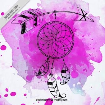 ピンクの水彩上のドリームキャッチャー