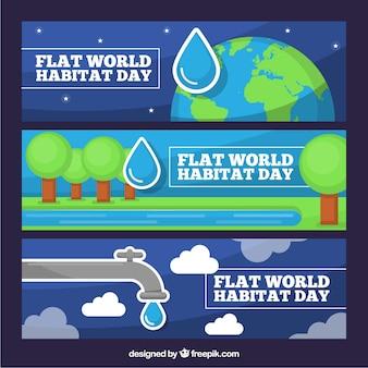 世界の生息地の一日を祝うために平らなバナーのセット