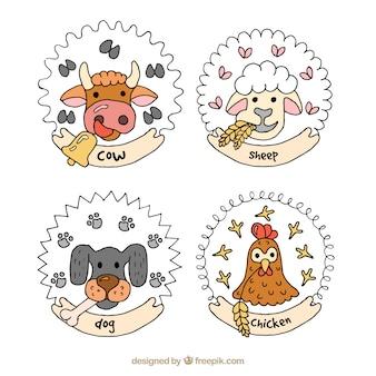 手描きの動物のニースバッジ