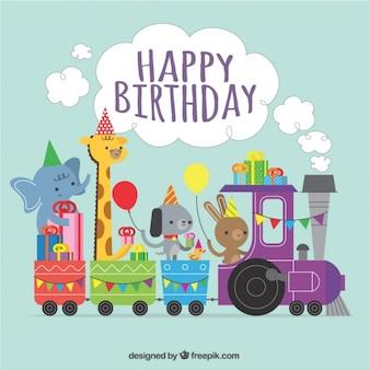 愛らしい動物と列車の誕生日の背景