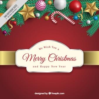 バッジとクリスマスデコレーションと背景