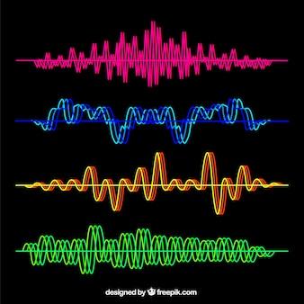カラフルな音の波のセット