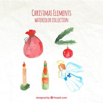 水彩クリスマス要素のコレクション